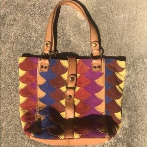 Multicolored Geometric Print Suede Leather Bag